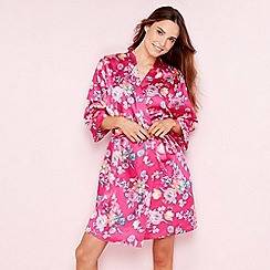 The Collection - Bright pink floral print satin dressing gown