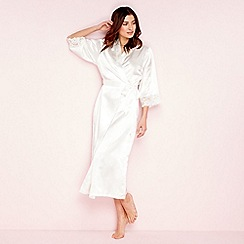 The Collection - Ivory bridal lace satin 3/4 length sleeve dressing gown