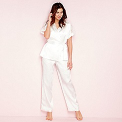 The Collection - Ivory lace satin pyjama set