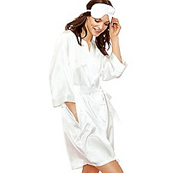 The Collection - White satin diamante 'Bridal' dressing gown with eye mask
