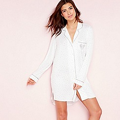The Collection - Ivory 'Bridal' heart print long sleeve nightshirt