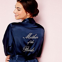 The Collection - Navy satin 'Mother of the Bride' 3/4 sleeves dressing gown