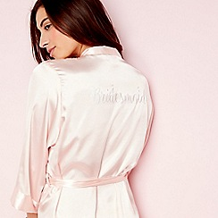 The Collection - Pink satin 'Bridesmaid' 3/4 length sleeve dressing gown