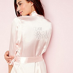 The Collection - Pale pink satin 'Team Bride' 3/4 length sleeve dressing gown
