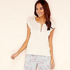 Lounge   Sleep - Light pink lace up cotton blend  Wanderer  short sleeve  pyjama 53e121024