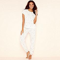 Lounge & Sleep - Cream geometric print cotton blend short sleeve pyjama set