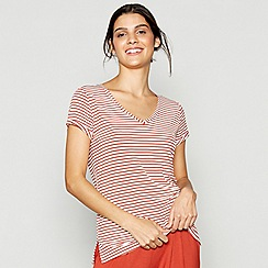 J by Jasper Conran - Dark orange striped V-neck loungewear top