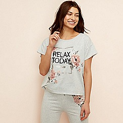 Lounge & Sleep - Light grey floral print 'Eden' loungewear top