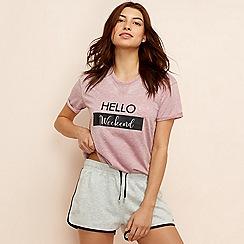 Lounge & Sleep - Dark pink marl 'Eden' loungewear top