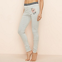 Lounge & Sleep - Light grey marl floral print 'Eden' leggings