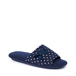 Lounge & Sleep - Navy spot print open toe mule slippers