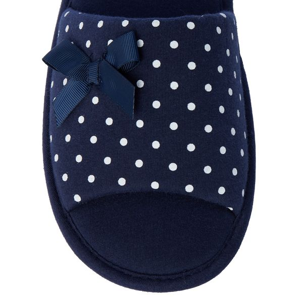 open Navy slippers mule spot amp; print Lounge toe Sleep xPXWT