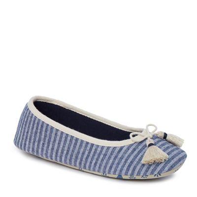 Lounge & Sleep - Navy stripe ballet slippers
