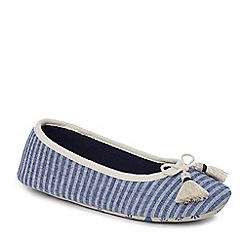 Lounge & Sleep - Navy stripe ballet slippers