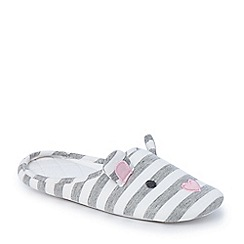 Lounge & Sleep - Grey stripe mouse closed toe mule slippers