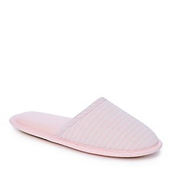 Lounge & Sleep - Pink stripe print closed toe mule slippers