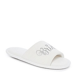 Lounge & Sleep - White 'Bride' open toe mule slippers