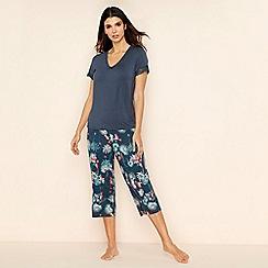 Gorgeous DD+ - Dark green floral print short sleeve pyjama set