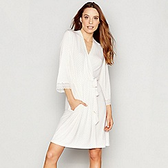J by Jasper Conran - White diamond print jersey 'Nomad' dressing gown