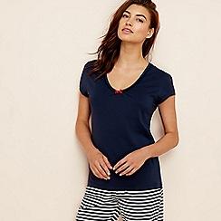 Lounge & Sleep - Navy cotton short sleeve pyjama top