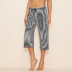 Lounge & Sleep - Navy stripe print cotton cropped pyjama bottoms
