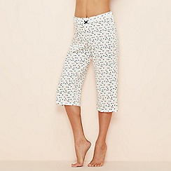 Lounge & Sleep - White spot print cotton cropped pyjama bottoms