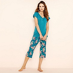 Lounge & Sleep - Green floral print short sleeve pyjama set
