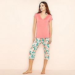 Lounge & Sleep - Pink floral print short sleeve pyjama set
