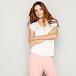 J by Jasper Conran - White diamond print jersey 'Nomad' short sleeve pyjama top