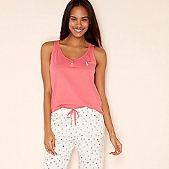 Lounge & Sleep - Pink embroidered flamingo cotton blend vest top