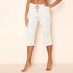 Lounge & Sleep - Cream spot print cotton pyjama bottoms