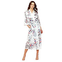 The Collection - White floral print 'Bonita' 3/4 length sleeve long dressing gown