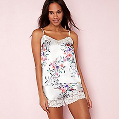 The Collection - White floral print satin 'Bonita' pyjama set
