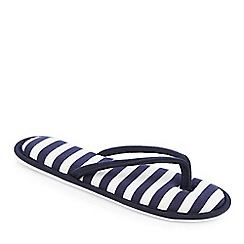 Lounge & Sleep - Navy stripe print flip flop slippers
