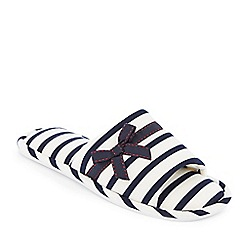 Lounge & Sleep - Navy striped open-toe mule slippers