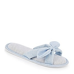 Lounge & Sleep - Blue cross strap bow mule slippers