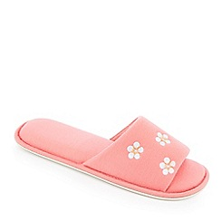 Lounge & Sleep - Pink floral embroidered open toe mule slippers