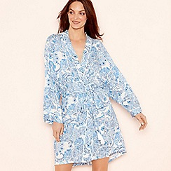 Lounge & Sleep - Blue paisley print long sleeve kimono
