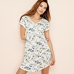 Lounge & Sleep - Cream tropical print cotton sleeptee