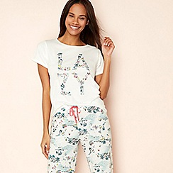 Lounge & Sleep - Cream tropical print cotton 'Lazy' pyjama top