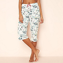 Lounge & Sleep - Cream tropical print pure cotton pyjama bottoms