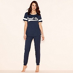 Lounge & Sleep - Navy 'Duvet Day' print cotton short sleeve pyjama set