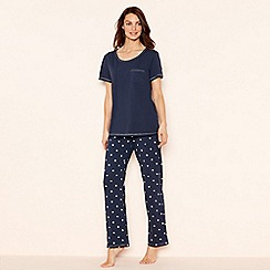 Lounge & Sleep - Navy star print cotton 'Essentials' short sleeve pyjama set