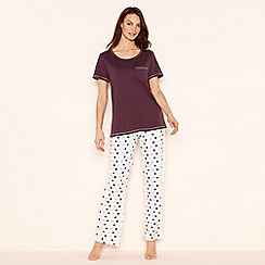 Lounge & Sleep - Purple spot print cotton 'Essentials' short sleeve pyjama set