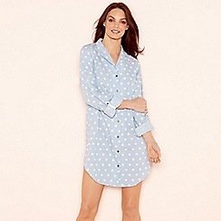 Lounge & Sleep - Blue polka dot print cotton 3/4 length sleeve nightshirt