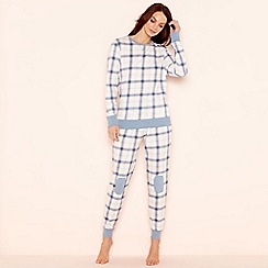 Lounge & Sleep - White check print 'Wild At Heart' long sleeve pyjama set