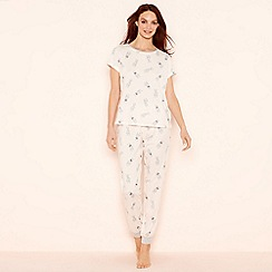 Lounge & Sleep - Pale pink bunny print cotton 'Wild At Heart' short sleeve pyjama set