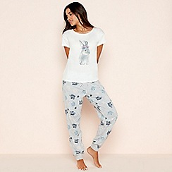 Lounge & Sleep - Grey floral bunny print cotton blend pyjama set