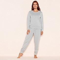 Lounge & Sleep - Light grey lace up 'Tranquil' loungewear set