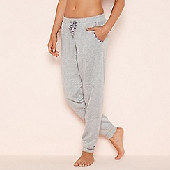 Lounge & Sleep - Light grey floral trim jogger pyjama bottoms